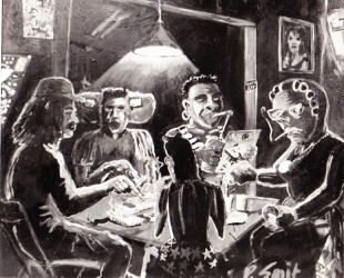 gemoderniseerde van Gogh aardappeleters met Ruud Gullit,Zeeuws meisje,Surinamer,patat etende