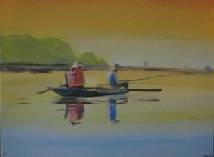 vissers op Mekong rivier